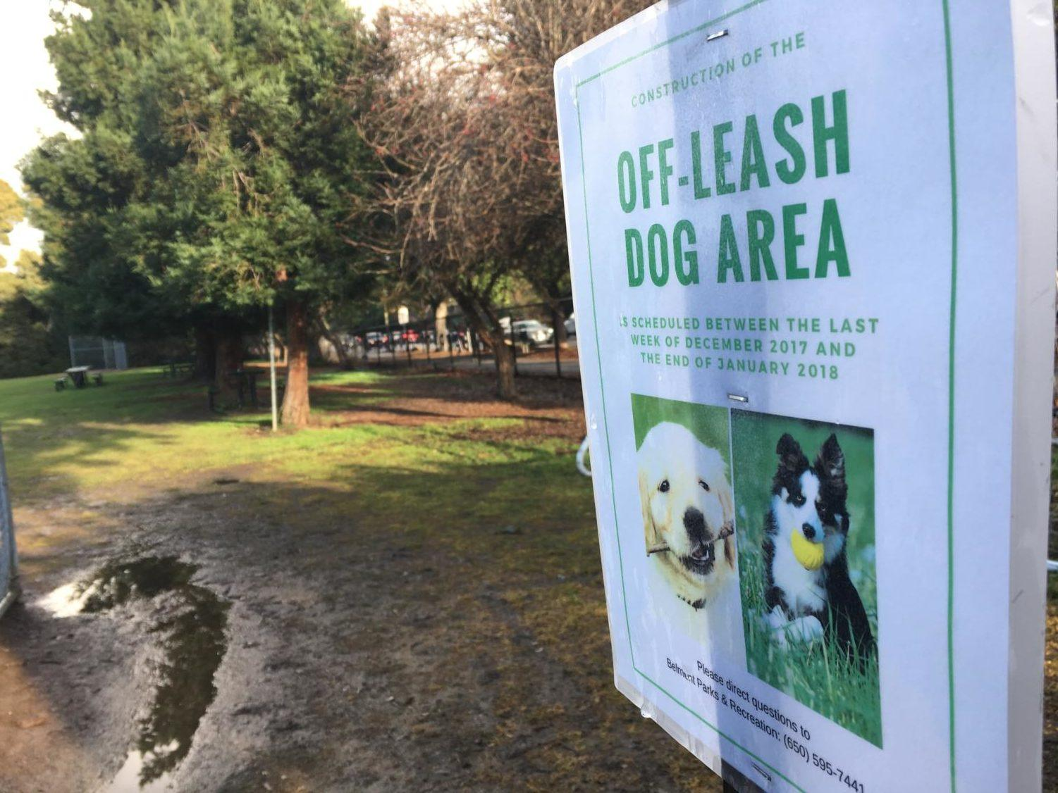 This sign notifies the arrival of an off-leash dog area at Barrett Park. This is one of many changes Barrett Park is going through as a result of the compromise in the Belmont community.
