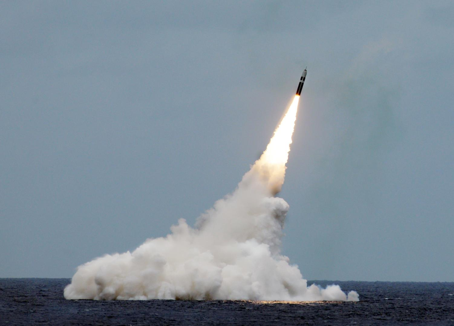An unarmed Trident II D5 missile launches from the Ohio-class fleet ballistic-missile submarine USS Maryland (SSBN 738) off the coast of Florida.