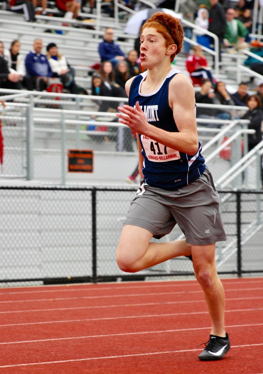 Patrik Geleziunas sprints to the finish line at the K-Bell Track and Field Classic at Los Altos High School.