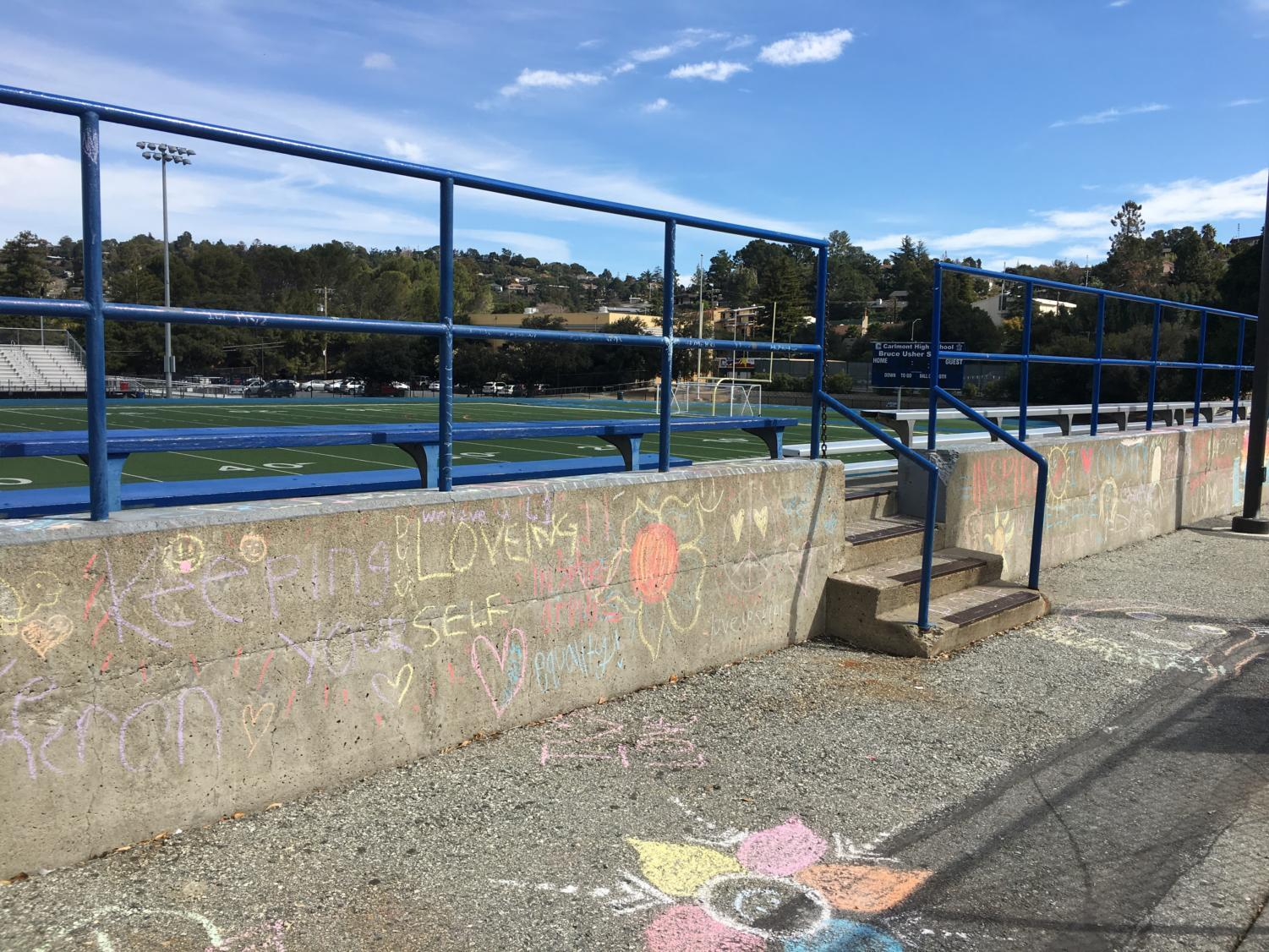 The chalk wall provides a fun and relaxing atmosphere at Calrmont.