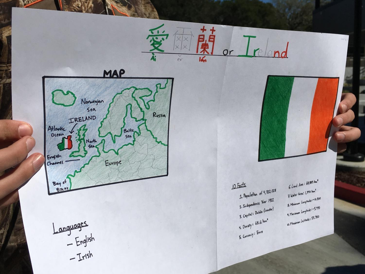 Quinn Felton, a student taking Chinese at Carlmont, holds his poster for National Foreign Language Week.