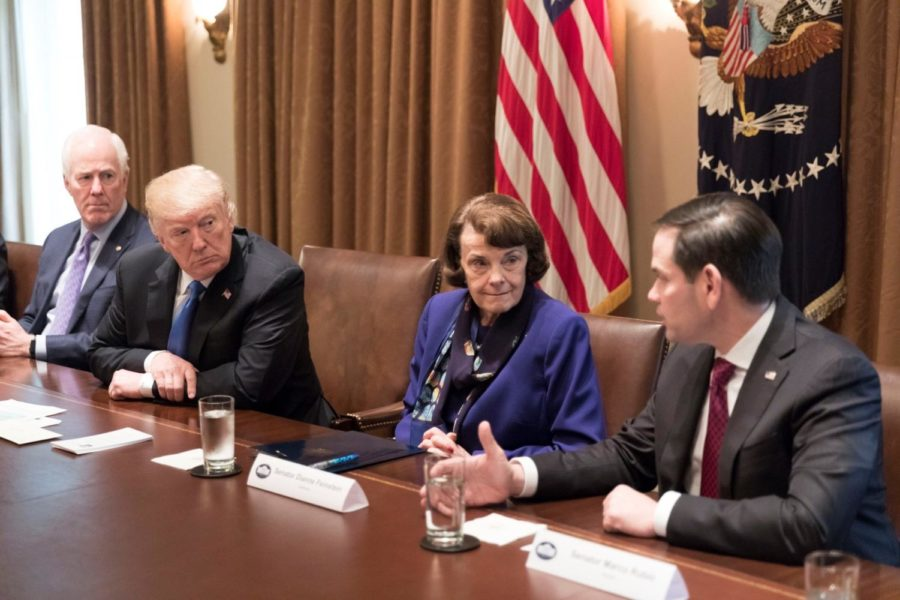 Senator+Diane+Feinstein+meets+with+Donald+Trump+to+discuss+gun+control%2C+one+of+the+issues+she+is+most+outspoken+about.+While+she+supports+items+such+as+gun+control%2C+she+often+is+more+centrist+than+some+of+her+Democratic+colleagues.+