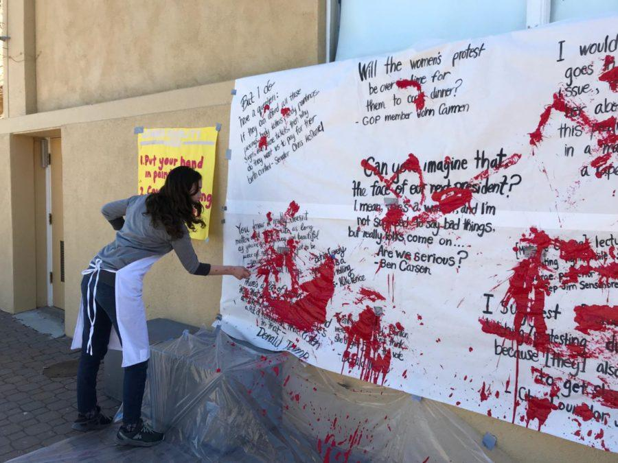 Students+covered+sexist+quotes+said+by+celebrities+in+red+paint.