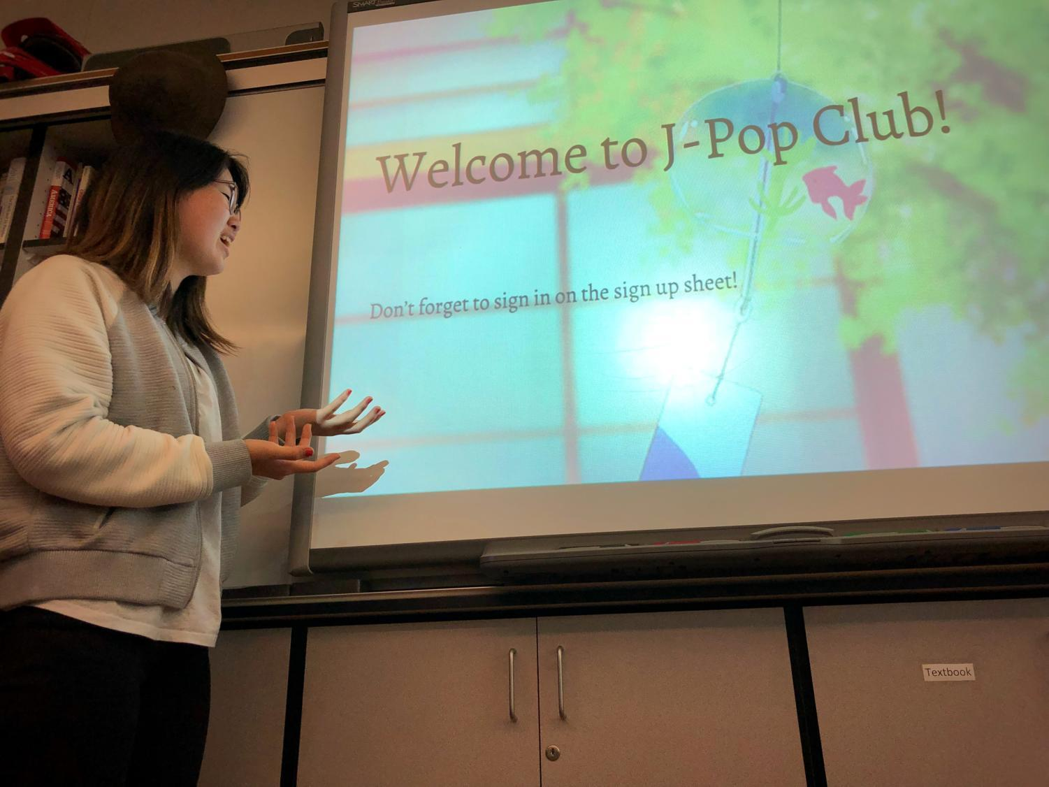 Japanese Pop Club President Nina Chung gives club members a presentation on different aspects of Japanese culture.