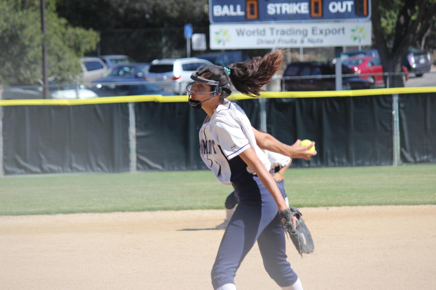 Freshman pitcher Nadia Chopoff pitches the ball.