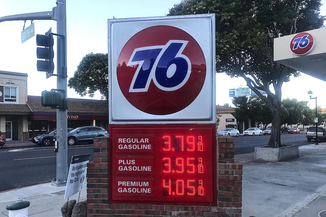 This gas station in Belmont, Calif. shows average gas prices per gallon for different types of gasoline.