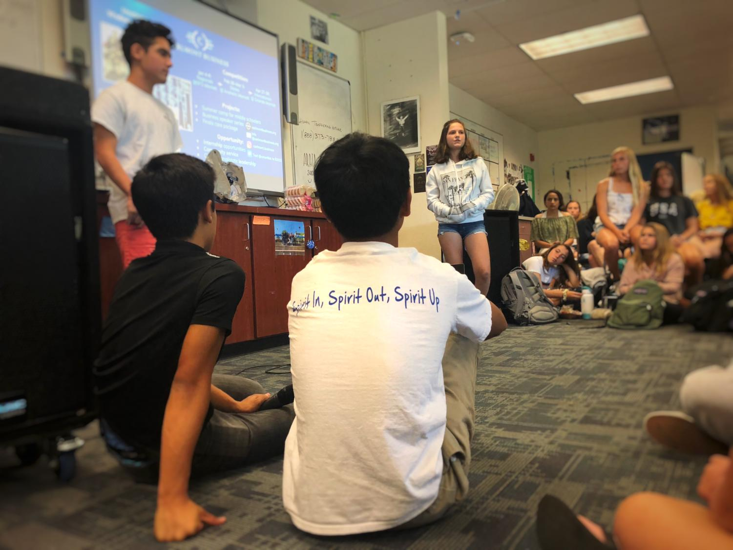 Carlmont's freshman class gathers in the ASB room during lunch to discuss upcoming spirit events and new opportunities for student involvement.