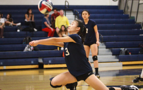Girls freshman volleyball team goes to three sets against Woodside
