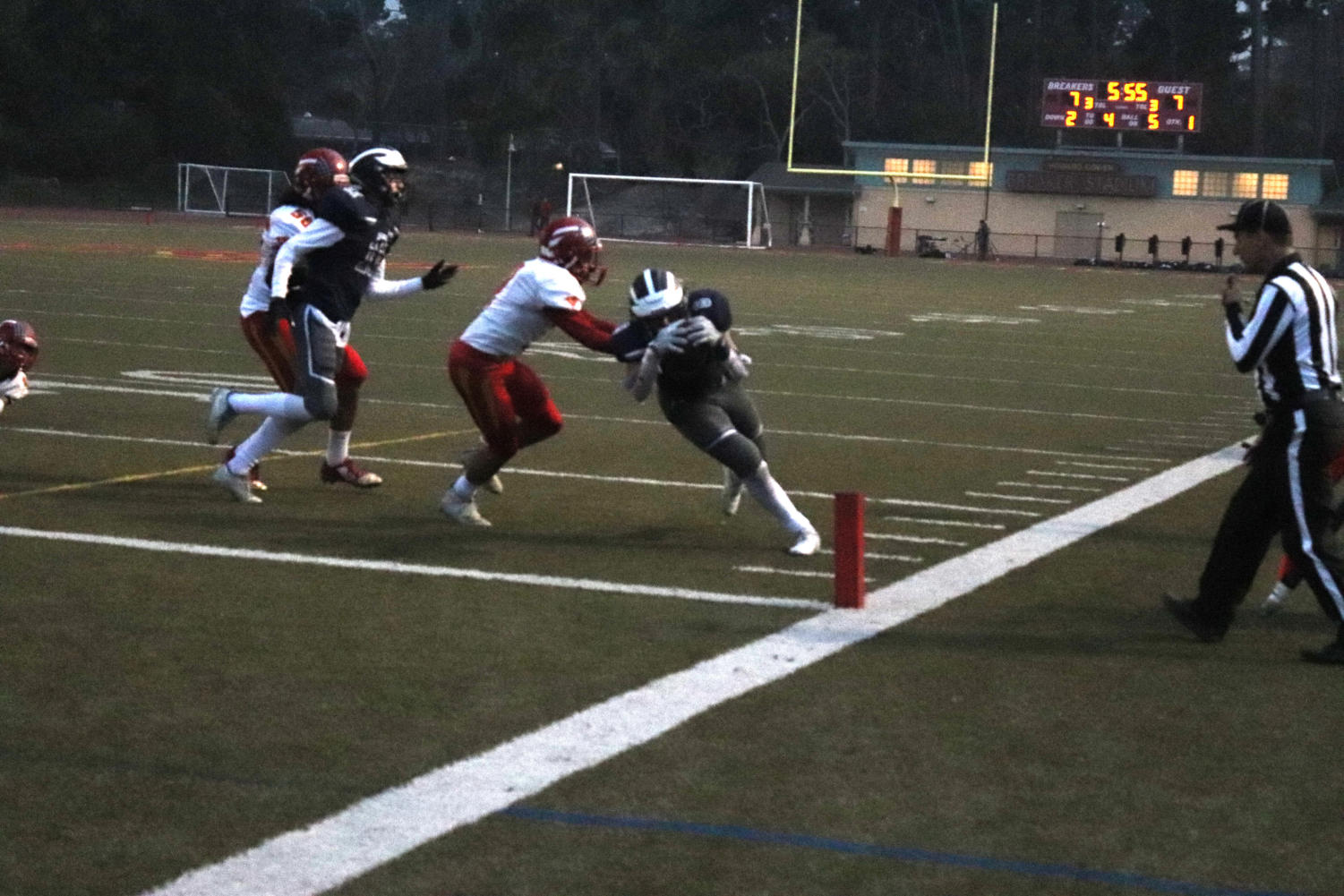 Running Back Julian Morin, a senior, dives into the end zone for a touchdown.