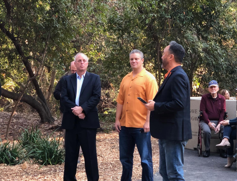Belmont Mayor Douglas Kim delivers remarks alongside Councilmen Charles Stone and Warren Lieberman.