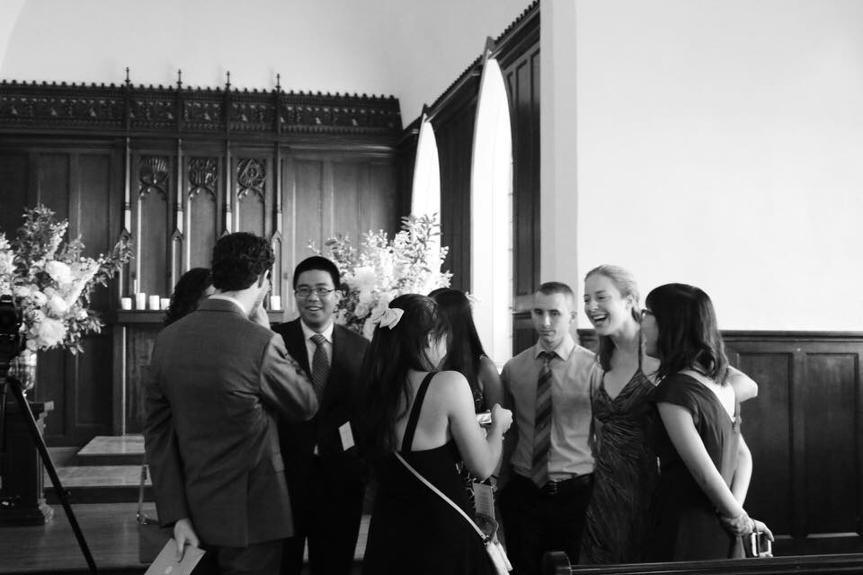 A group of friends gathered at my cousin's wedding, nearly a decade after their college graduation.