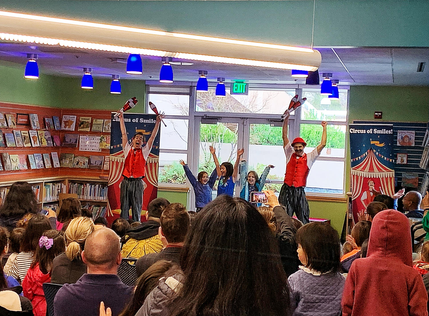 After performing a juggling act with three volunteers, Mr. Quick and Mr. Mustache bow to the audience. The sound of laughter fills the otherwise quiet San Carlos Library on the rainy day of Jan. 20.