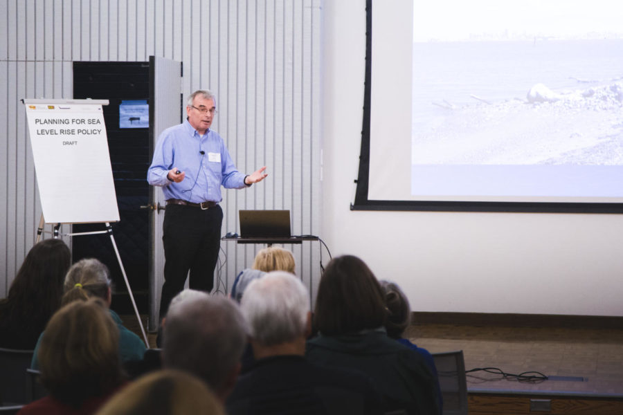 Lowe+begins+his+talk+about+what+is+causing+the+sea+level+rise+and+how+people+can+reduce+it.