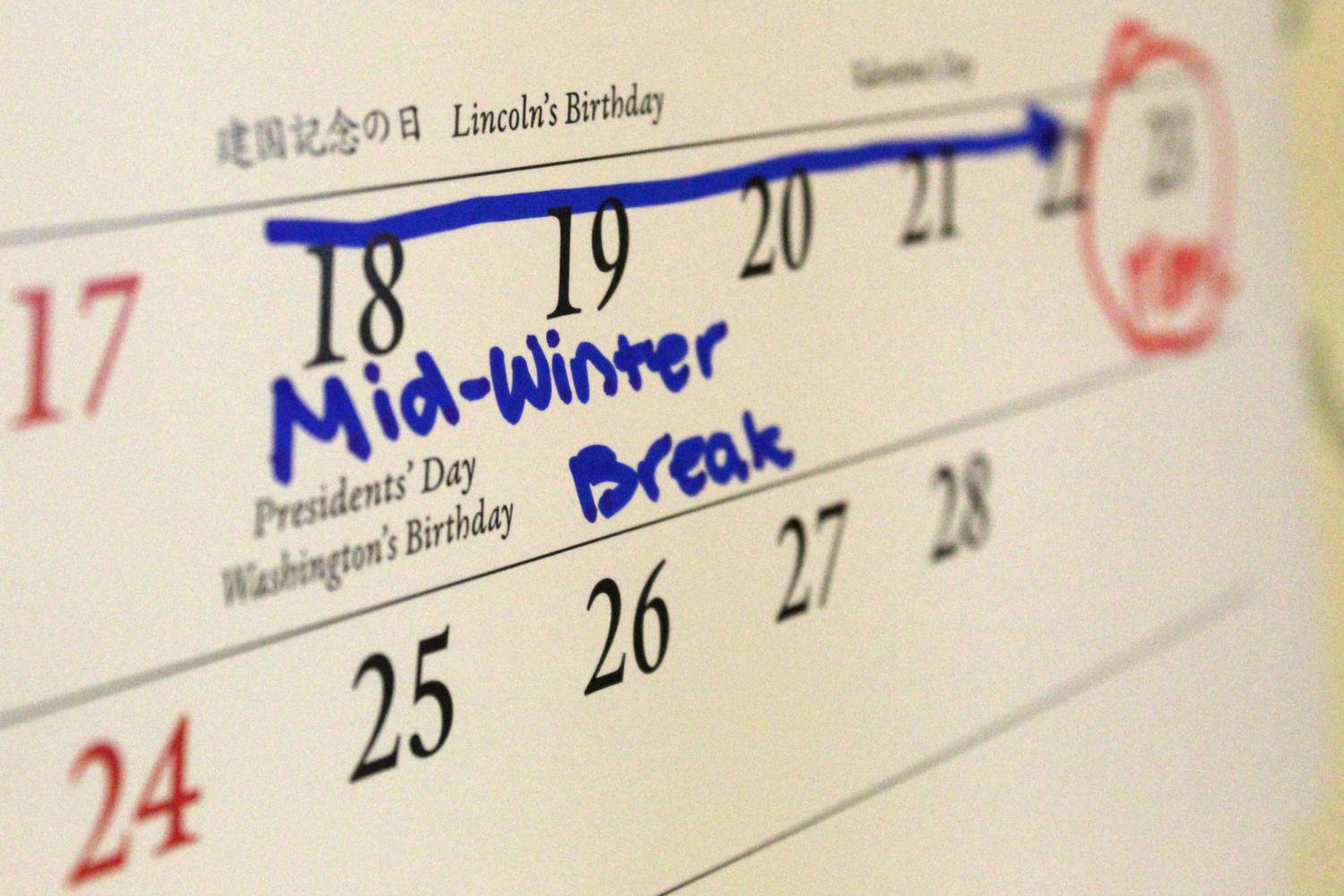 Mid-winter break gives students time to rest without the stress of school.
