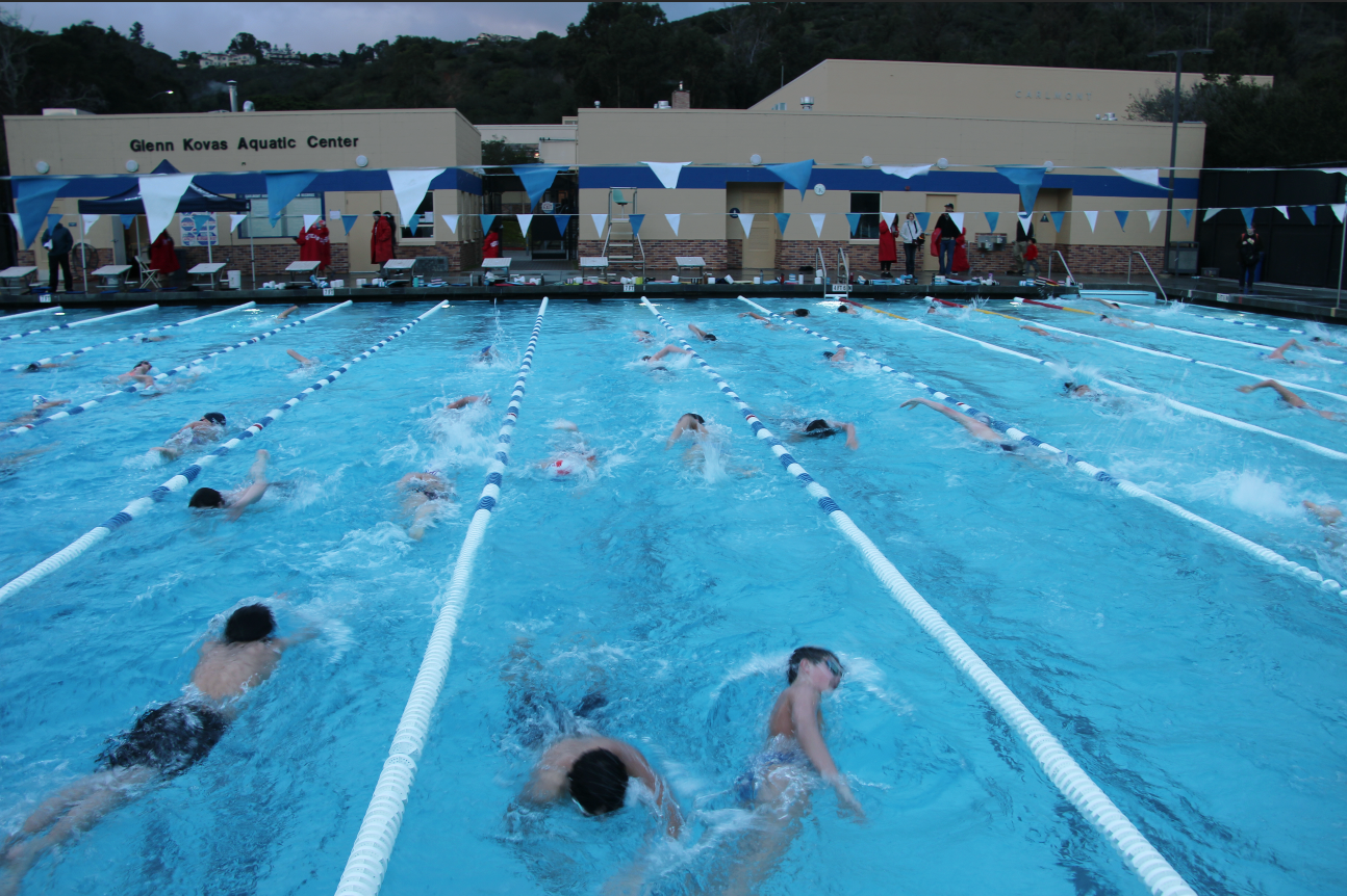 Carlmont swim team begins the first practice of the season in the newly renovated facility on Monday, Feb. 4.
