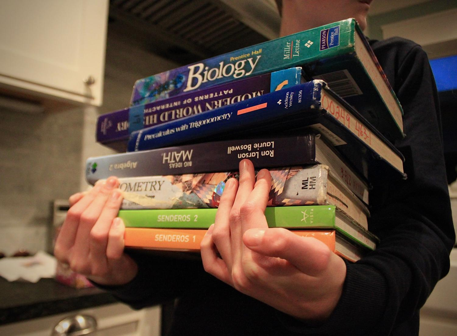 A student carries a variety of textbooks from classes that are offered at Carlmont.