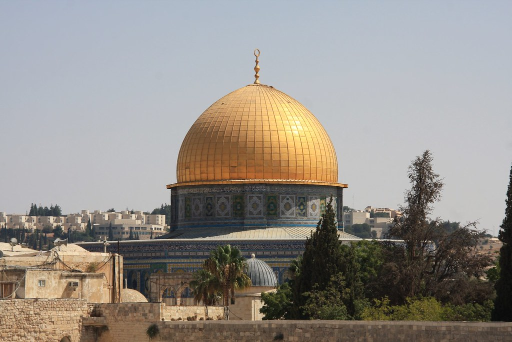 A mosque located in the city of Jerusalem, which is holy to Jews, Muslims, and Christians.