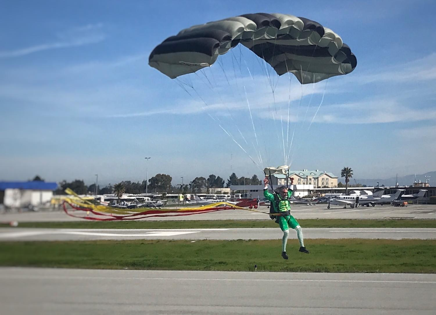 Ed Pawlowski, a professional skydiver, dresses up as a leprechaun to make his grand entrance at the Hiller Aviation Museum. The museum hosts events for Easter, Halloween, and Christmas in addition to St. Patrick's Day.
