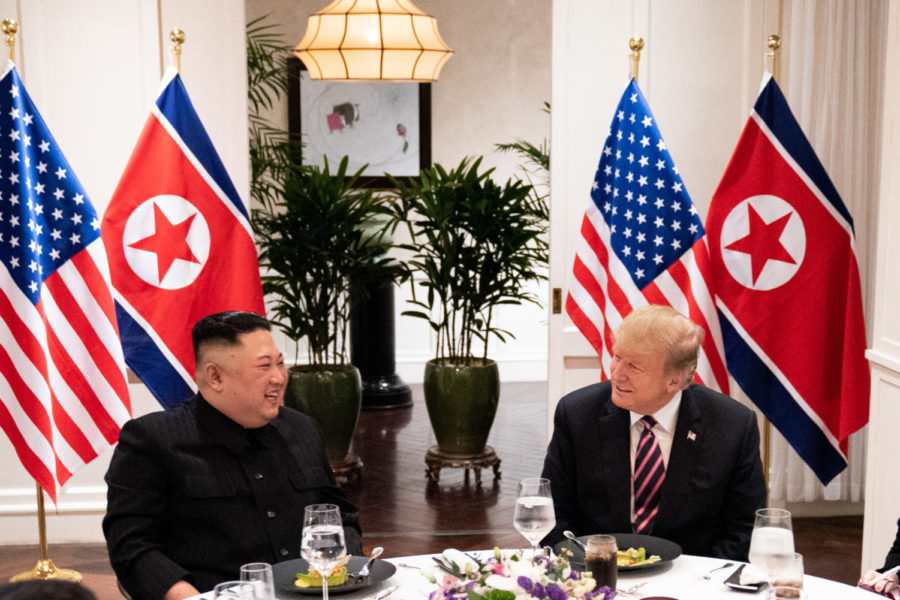 President+Donald+Trump+and+Kim+Jong-un+meet+for+a+social+dinner+on+at+the+Sofitel+Legend+Metropole+hotel+in+Hanoi+for+their+second+summit+meeting.+