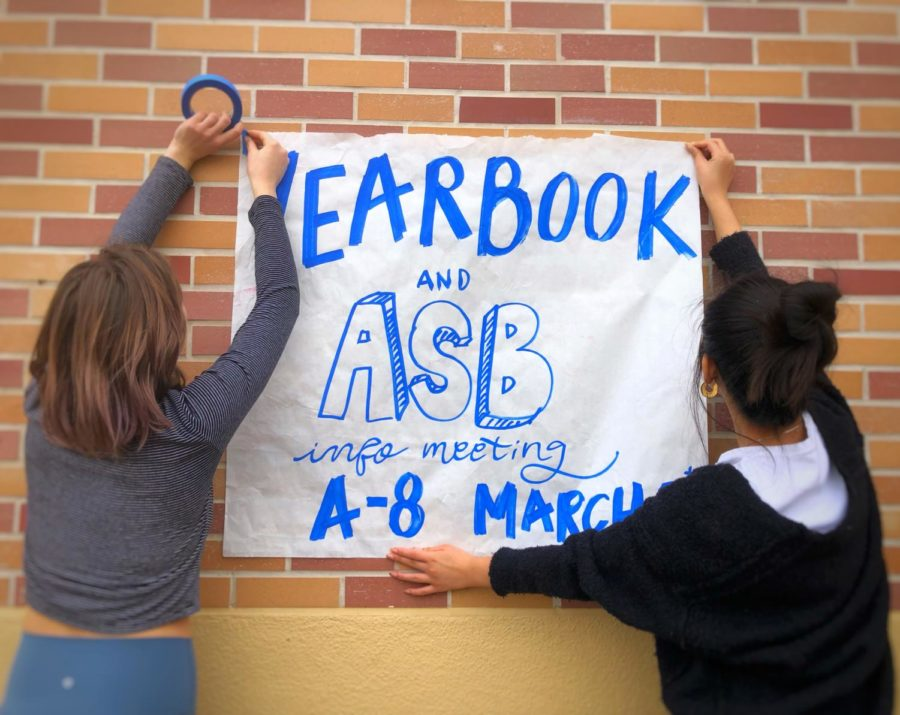 Juniors+Isabella+Mattioli+and+Emily+Nguyen+hang+up+posters+advertising+for+the+annual+ASB+interviews.