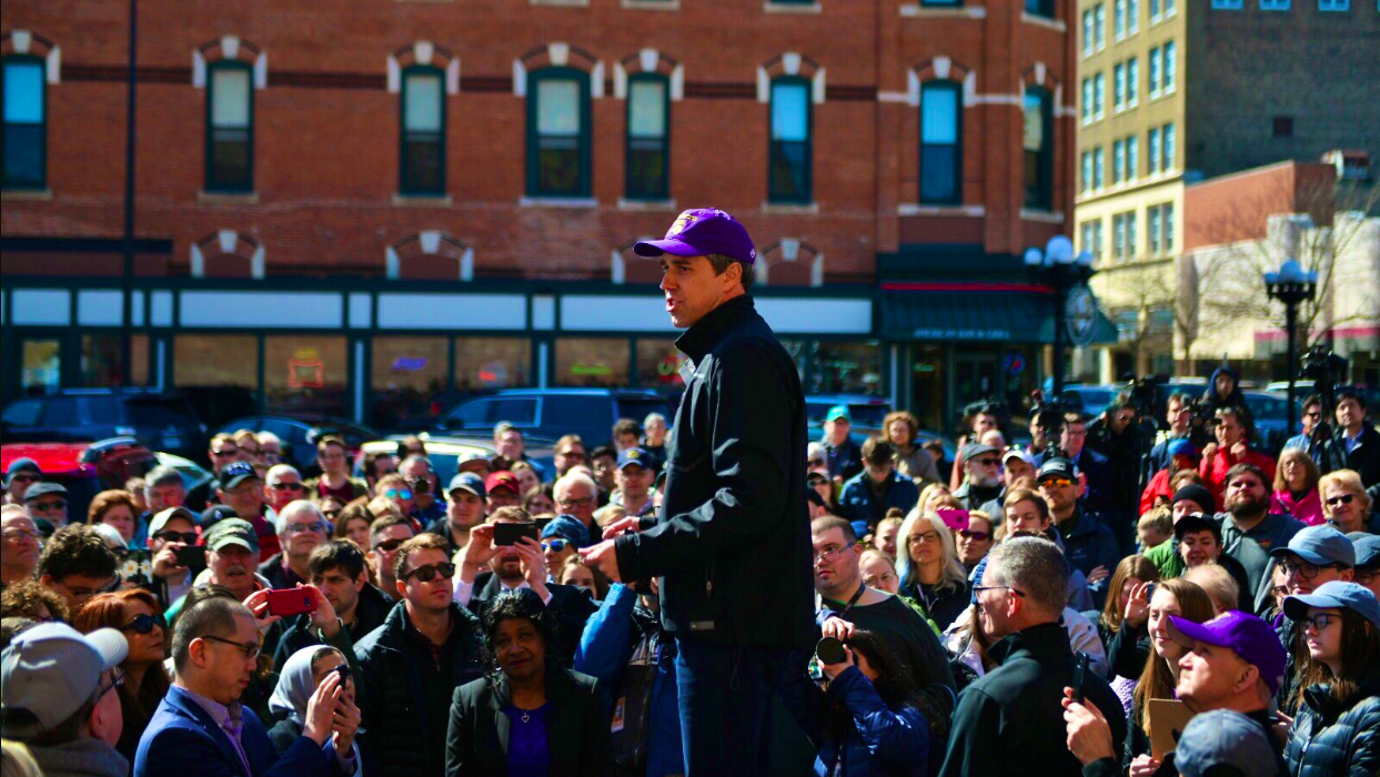 Beto O'Rourke speaks to potential voters in Wisconsin during a campaign event. O'Rourke received national fame from his Senate campaign against Ted Cruz.