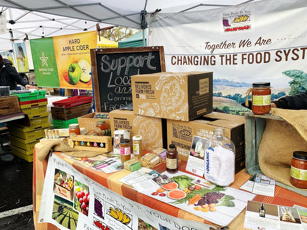 Local businesses set up stands and booths during the Facebook Festival. The event was organized to benefit the community and support local charities.