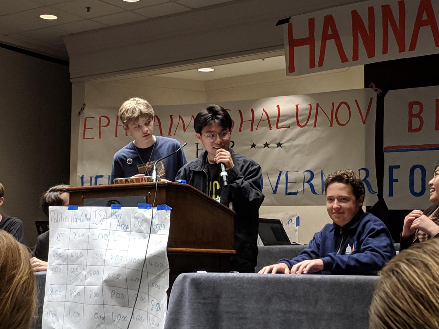 Students play Jeopardy at the regional caucus during JSA's NorCal Spring State Convention.