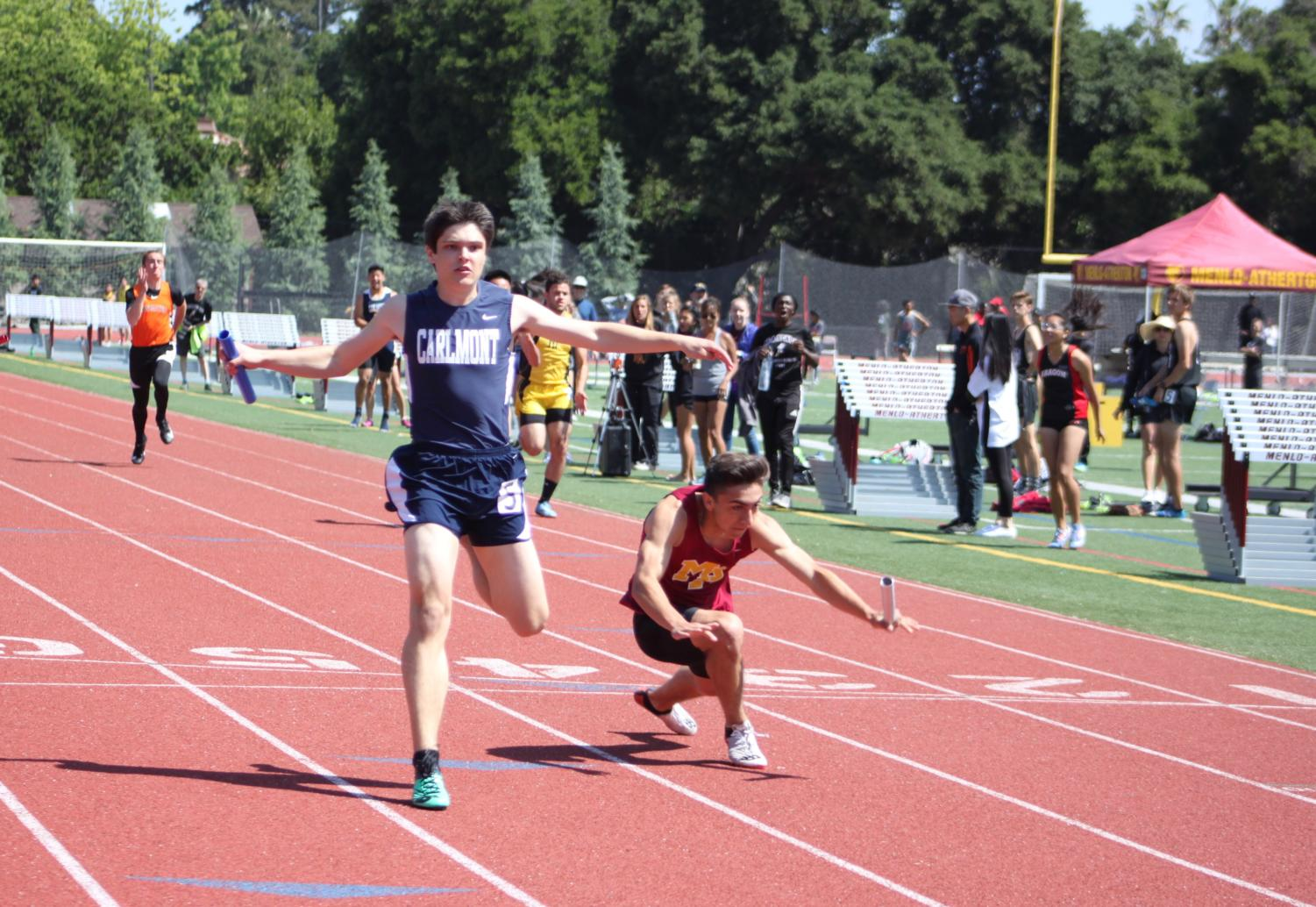 Carlmont's Jack Norton, a junior, finished second in the 100-meter sprint, only 0.6 seconds behind Francisco Sanchez from Menlo-Atherton High School.