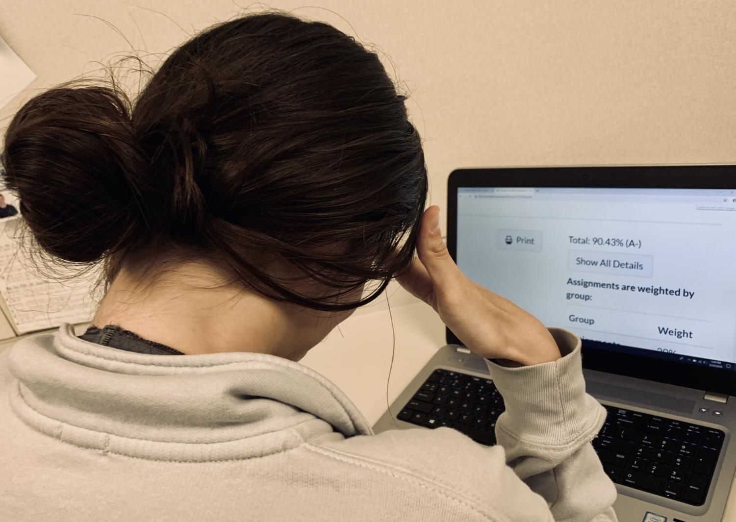 A student looks with dismay at her borderline grade.