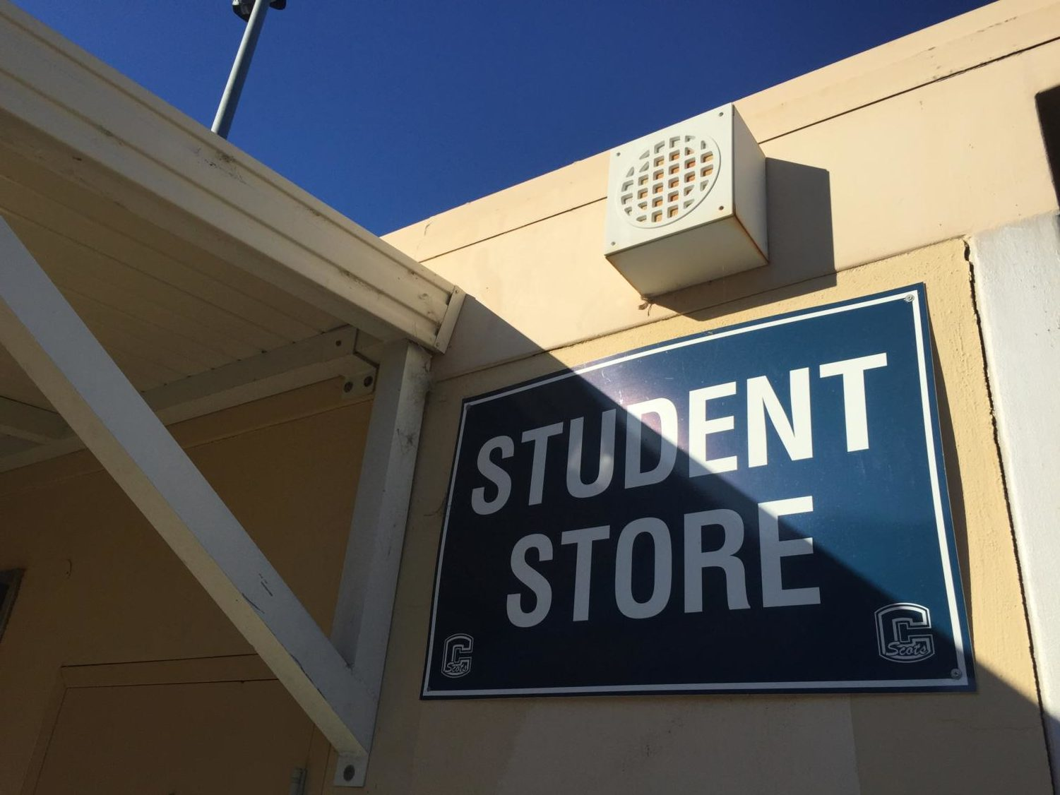 The Student Store is located in the Quad above the football bleachers.