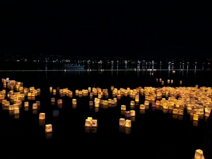 Lanterns+disperse+throughout+the+water.