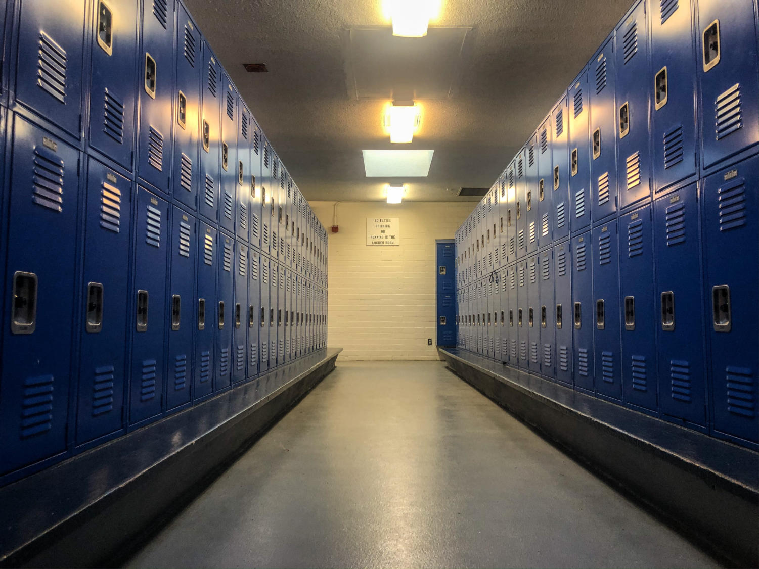The upstairs girls' locker room where the theft took place.