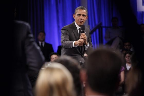 President Barack Obama answers an audience member's question during a Town Hall meeting sponsored by LinkedIn at the Computer History Museum in Mountain View