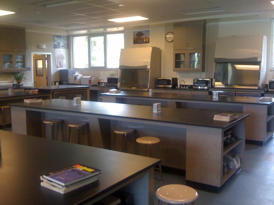 inside classroom U21 in the new biotech building