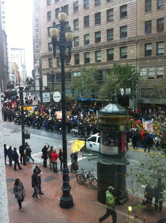A view of the Nov. 5 demonstration from the Commonwealth Building