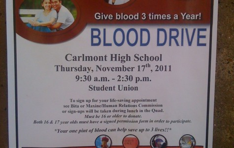 poster for Carlmont's blood drive on Thurday