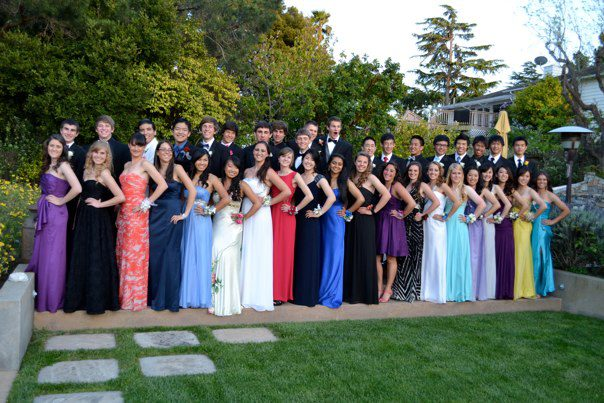a group of Carlmont students pose for a pre-prom picture