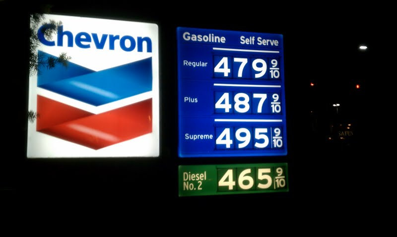 The gas prices in Belmont are even higher than the California average.