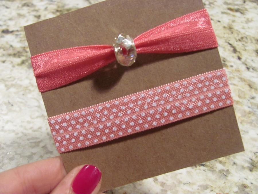 Pink+soft+elastic+hair+ties%2C+one+with+polka+dot+print