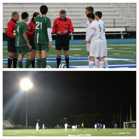 (Top Picture) Carlmont Captains, (from closest to furthest away in white) Andrew Durlofsky, Ryan Freeman, and Justin Harpster doing the coin toss. Hapster had two goals in the game Wednesday. (Bottom Picture) Carlmont's team Friday on a cold rainy night.