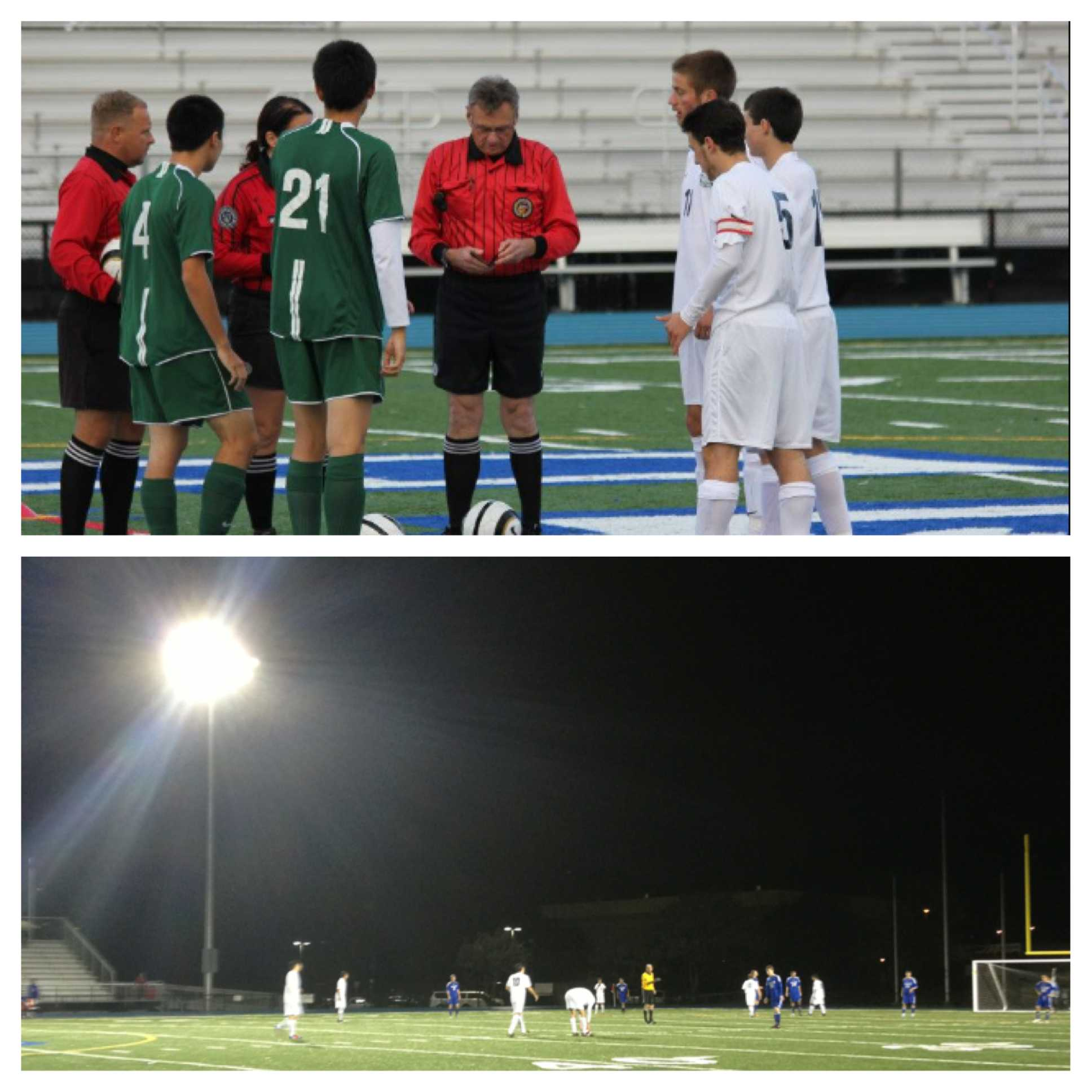(Top Picture) Carlmont Captains, (from closest to furthest away in white) Andrew Durlofsky, Ryan Freeman, and Justin Harpster doing the coin toss. Hapster had two goals in the game Wednesday.