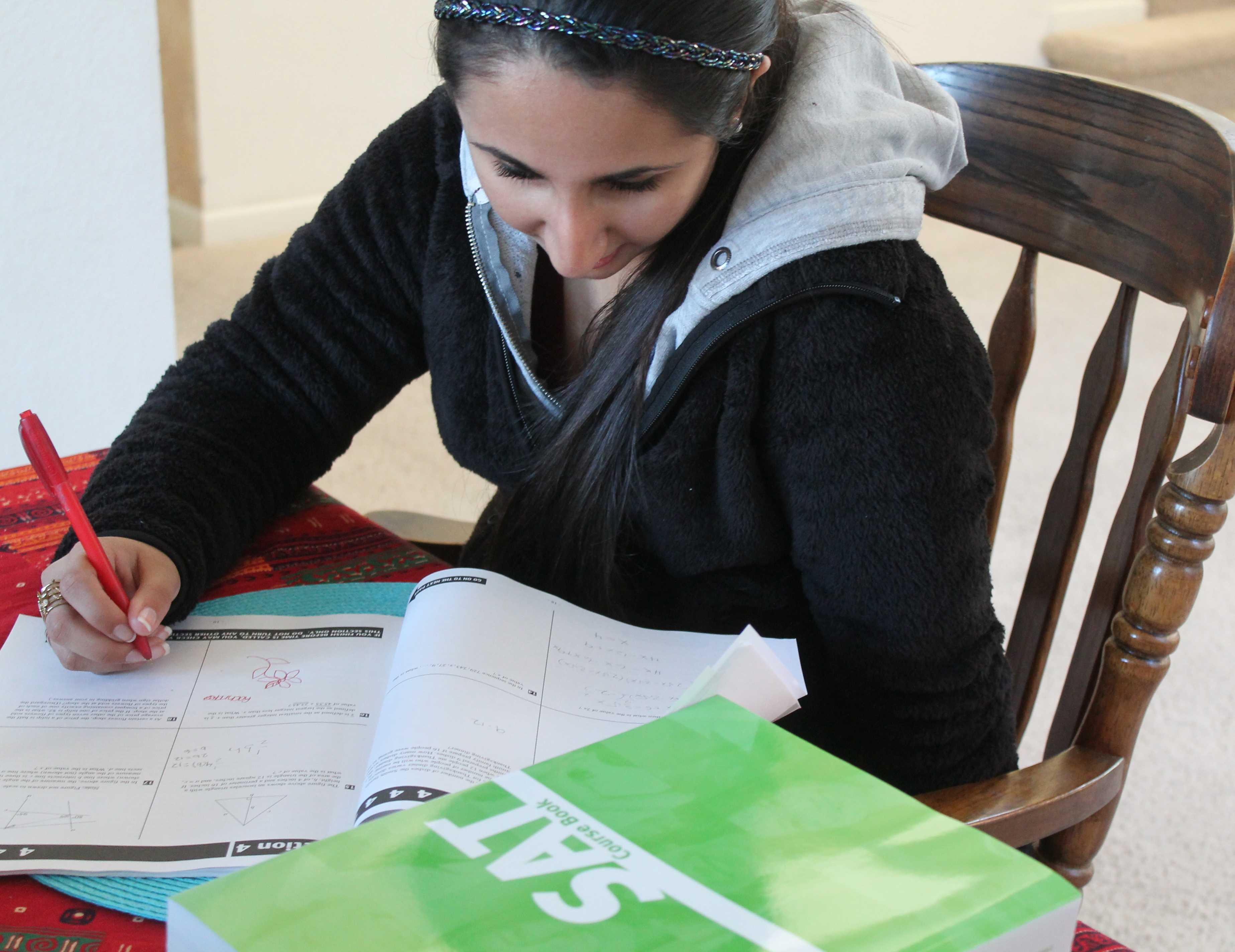Rachna Gandhi studies for the upcoming SAT.