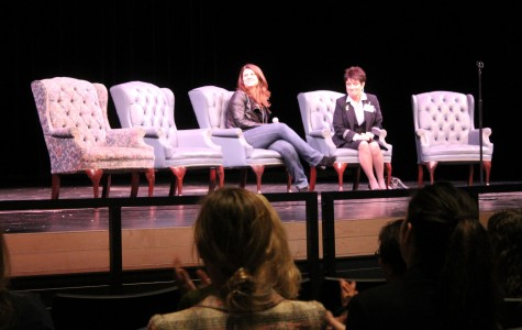Barbara Struyf, a flight attendant and Heather Martugh, a journalist, talk about their careers to the audience.