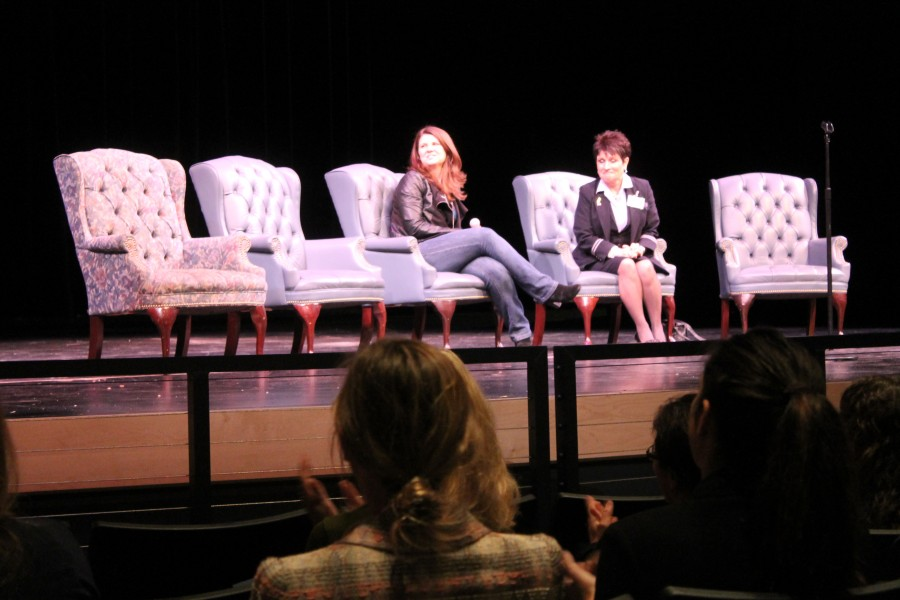 Barbara+Struyf%2C+a+flight+attendant+and+Heather+Martugh%2C+a+journalist%2C+talk+about+their+careers+to+the+audience.+