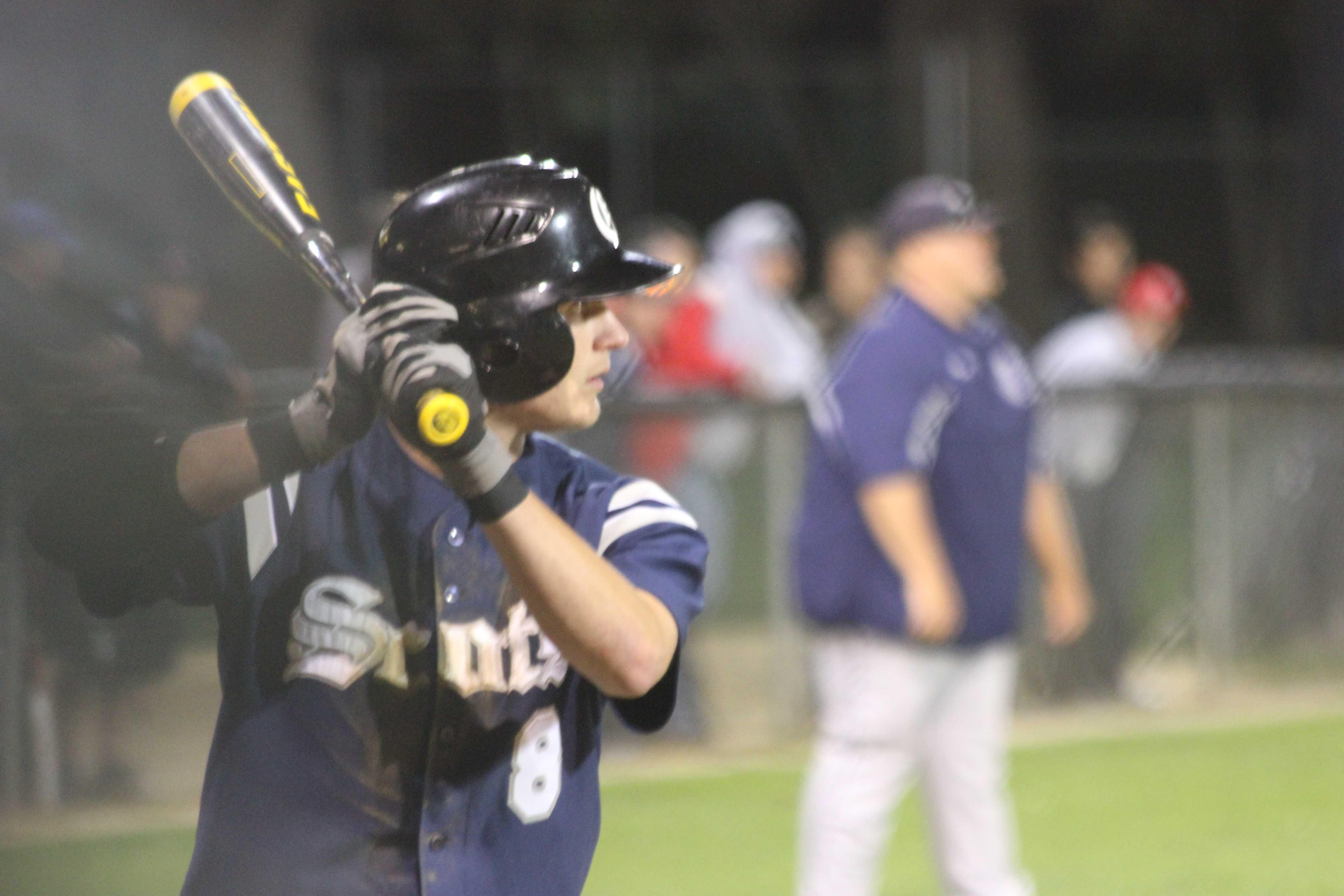 junior Matt Seubert during his at bat against Burlingame High School Friday night