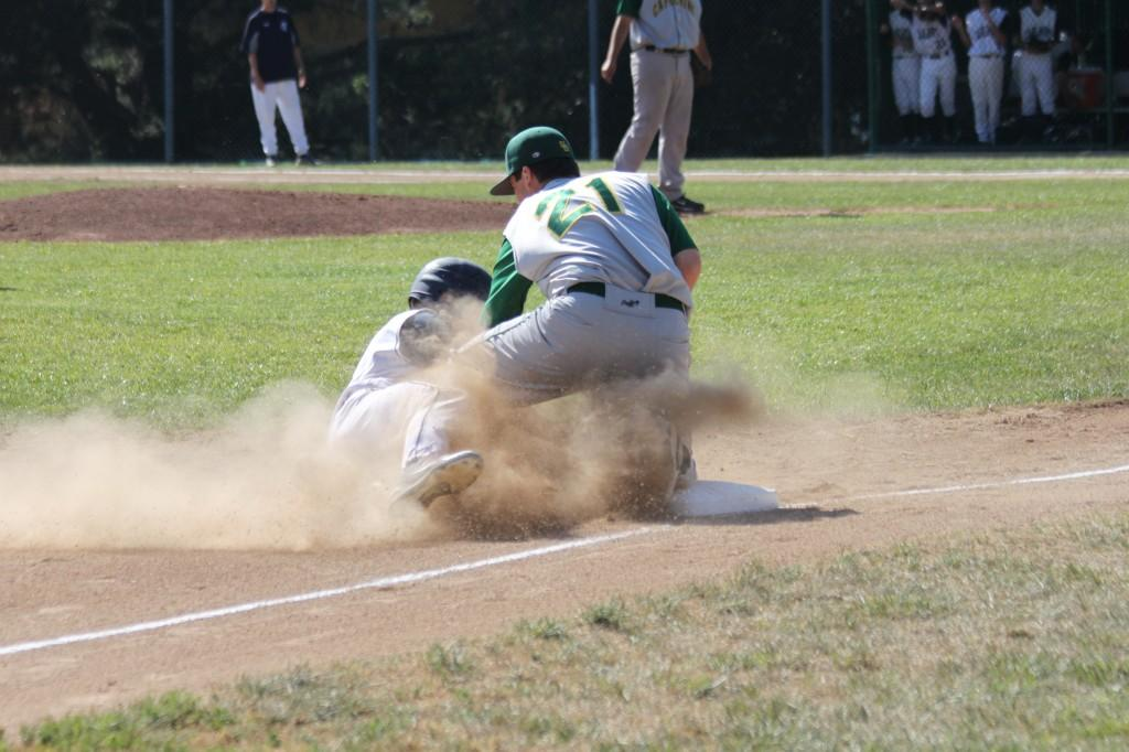 Nick Thompson sliding into third on a steal