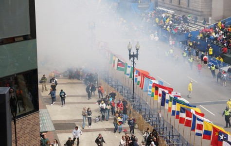 The Boston Marathon finish line area at which the bomb went off