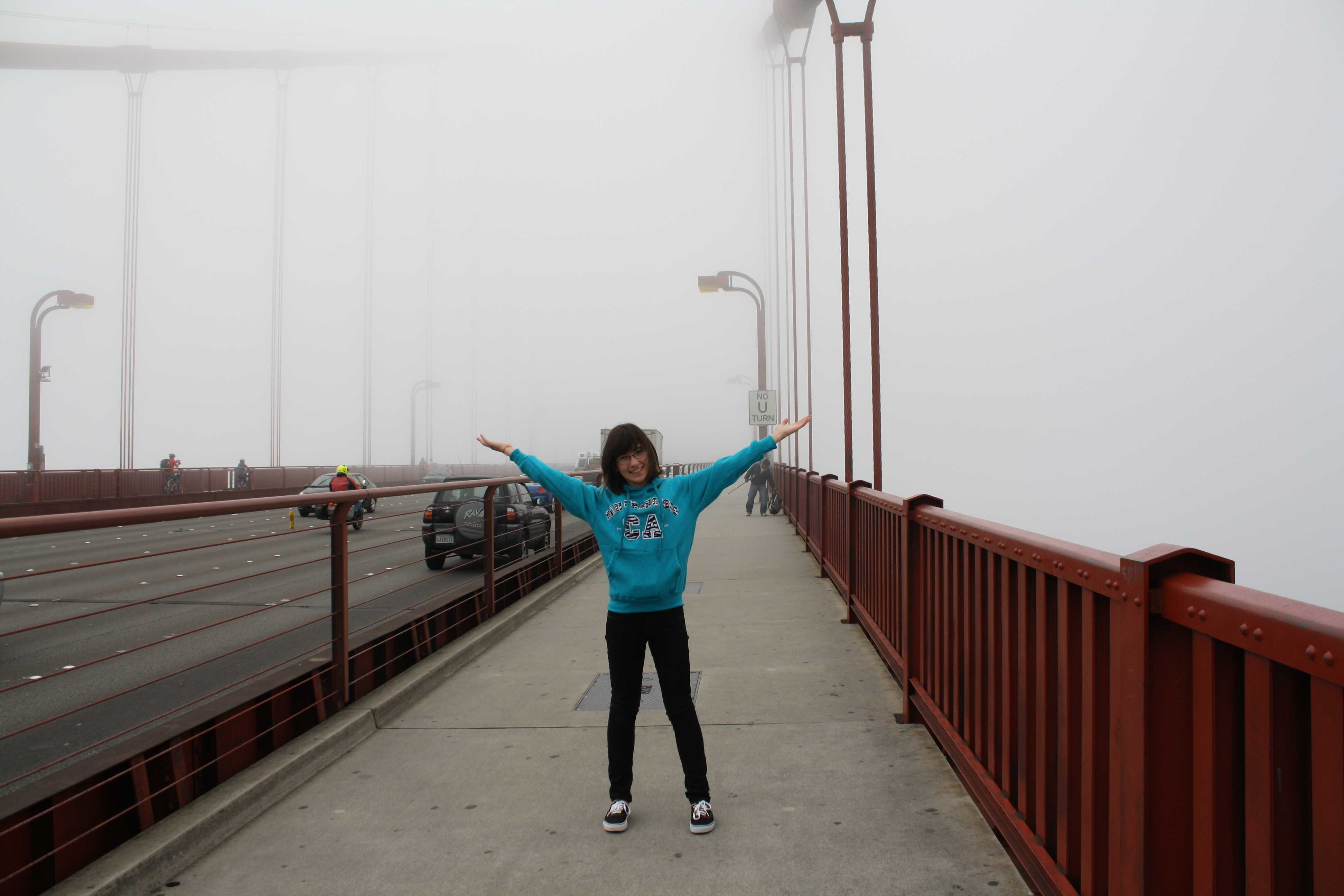 French exchange student Chloe Masero experiencing fog at the Golden Gate Bridge [photo credit to Veronica Pontis]