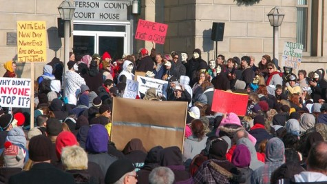 Activists gather at the Jefferson County Courthouse in Steubenville, Ohio. Photo cred: Michael D. McElwain, Steubenville Herald-Star