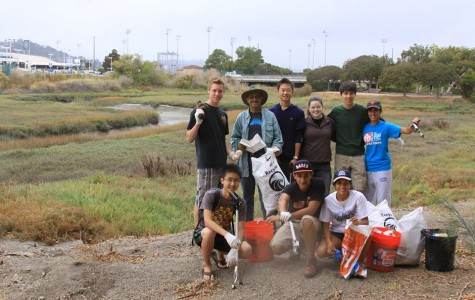 GYA at the California Coastal Clean-Up Day event on Sept. 21. From left to right, top row: Franklin Rice, Mr. D'Souza, Nathan Lu, Morgan Finlayson, Brandon Whiteley, and Bita Shahrvini. Bottom row: James Xie, Belal Kaddoura, and Gabby D'Souza.